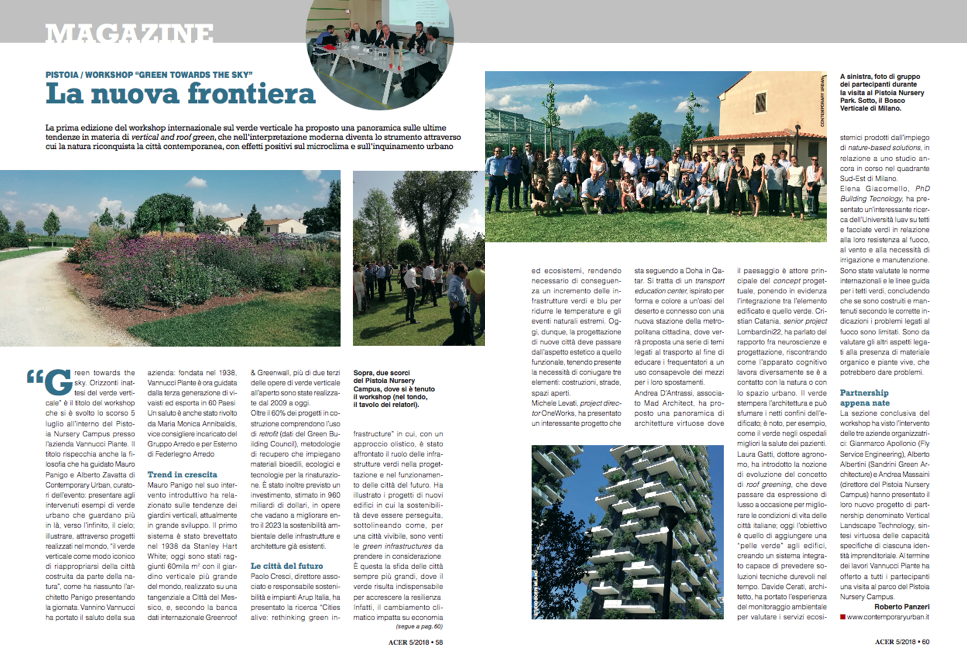 GREEN TOWARDS THE SKY: IL MAGAZINE 'ACER' SUL WORKSHOP INTERNAZIONALE IDEATO DA CONTEMPORARY URBAN